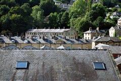 Dessus de toit au-dessus de passerelle de Hebden Photo stock