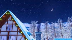 Dessus de toit de Chambre avec la cheminée de tabagisme la nuit hiver illustration de vecteur