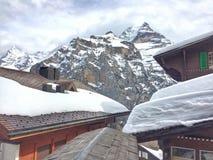 dessus de toit couverts de neige Images libres de droits
