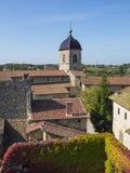 Dessus de toit d'un vieux village médiéval Perouges Photo stock