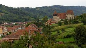 Dessus de toit de jument de Copsa, la Transylvanie, Roumanie Images libres de droits