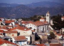Dessus de toit de ville, Pano Lefkara, Chypre. Photos stock