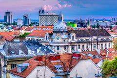 Dessus de toit en ville Zagreb, Croatie Image stock