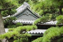 Dessus de toit impérial de palais du Japon Tokyo Tokyo des arbres d'Otemon (porte est) vus images libres de droits