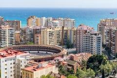 Dessus de toit de Malaga sur Costa Del Sol photographie stock libre de droits