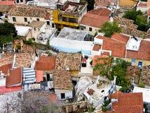 Dessus de toit rouges de vieilles maisons images libres de droits