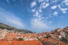 Dessus de toit de vieille ville de Dubrovnik Photos libres de droits