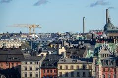 Dessus de toit de vieilles maisons dans Gamla Stan, la vieille ville de Stockholm, Suède photos libres de droits