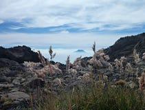 Dessus de volcan vu de l'autre crête avec l'herbe Photographie stock libre de droits
