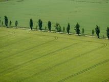 Dessus en bas de vue sur des terres cultivables avec des champs, des prés et le concept d'agriculture de forêt photo stock
