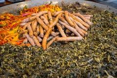 Dessus et poivrons de navet de saucisse de Puglia Photo libre de droits
