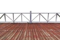 Dessus l'AM d'isolement par passerelle en bois a isolé le fond blanc photos stock