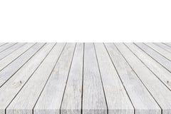 dessus mpty du compteur en bois de table d'isolement sur le blanc Enregistré avec c Photographie stock