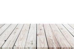 dessus mpty du compteur en bois de table d'isolement sur le blanc Enregistré avec c Photos libres de droits