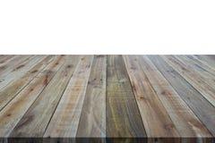 dessus mpty du compteur en bois de table d'isolement sur le blanc Enregistré avec c Images stock