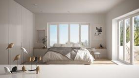 Dessus ou étagère de table blanc avec l'ornement minimalistic d'oiseau, knick de birdie - talent au-dessus de chambre à coucher c images libres de droits