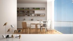 Dessus ou étagère de table blanc avec l'ornement minimalistic d'oiseau, knick de birdie - talent au-dessus de cuisine minimaliste photographie stock libre de droits