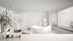 Dessus ou étagère de table blanc avec l'ornement minimalistic d'oiseau, knick de birdie - talent au-dessus de salle de bains cont photos stock