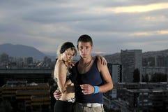 dessus urbain de couples de bulding Photos libres de droits
