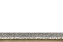 Dessus vide de la table de pierre de granit d'isolement sur le fond blanc images stock