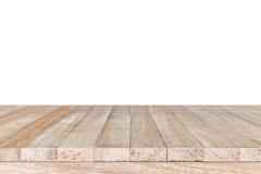 Dessus vide de la table ou du compteur en bois d'isolement sur le backgroun blanc photos stock