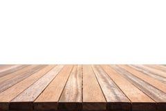 Dessus vide de la table ou du compteur en bois d'isolement sur le backgroun blanc photographie stock libre de droits