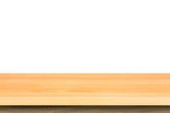 Dessus vide de la table ou du compteur en bois d'isolement sur le backgroun blanc photo libre de droits