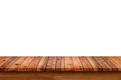 Dessus vide de la table ou du compteur en bois d'isolement sur le backgroun blanc images libres de droits