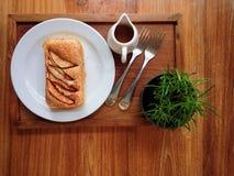 Dessus-vue de pain de petit déjeuner Image stock