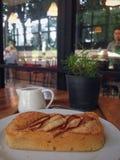 Dessus-vue de pain de petit déjeuner Photo stock