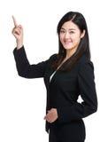 Destacar del finger de la mujer de negocios Fotografía de archivo libre de regalías