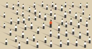 Destaqúese de la dirección de la muchedumbre diferente stock de ilustración