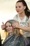 Destaque. cabeleireiro da mulher no salão de beleza fotos de stock
