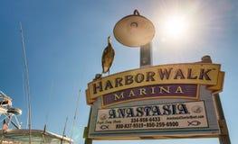 DESTIN, FL - 2016年2月13日:Harborwalk小游艇船坞标志 背景绽放开花蝴蝶樱桃关闭灰色有图象JPG口气结构树向量 免版税图库摄影