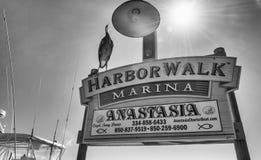 DESTIN FL, LUTY, - 13, 2016: Harborwalk Marina znak tła kwiatu okwitnięcia motyli wiśni zakończenia grey wizerunku jpg brzmienia  Zdjęcia Stock