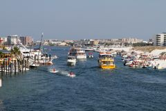 Destin Harbor Boaters Stock Photography