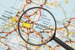 Destination - Amsterdam (förstoringsglaset) Arkivbild