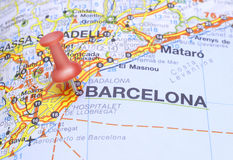 Free Destination Barcelona On The Map Of Spain Royalty Free Stock Images - 10106969