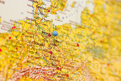 Destination: Berlin. Detail of map with Berlin in focus and marked by a map pin Royalty Free Stock Photography
