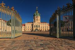 Charlottenborg castle and palace in berlin on a blue sky stock images