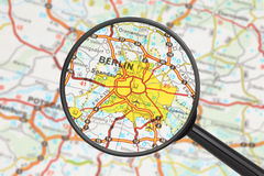 Destination - Berlin (with magnifying glass). Tourist conceptual image: Destination - Berlin (with magnifying glass Royalty Free Stock Image