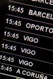 Destination Board. Airport destination board in Spanish Airport showing Vigo and Porto destinations royalty free stock photos