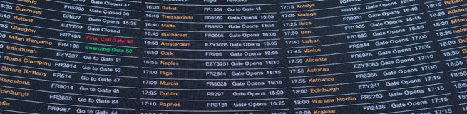Destination board of an airport in UK Stock Photography