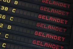 Destination board. German at airport Royalty Free Stock Photos