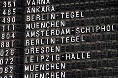 Destination board. Split flap destination board at airport Royalty Free Stock Image