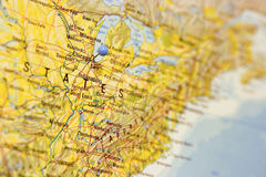 Destination: Chicago. Detail of map with Chicago in focus and marked by a map pin Royalty Free Stock Photography