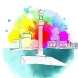 Destination colorée de voyage de Rhodes Greece illustration de vecteur