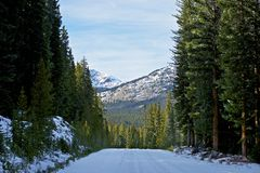 Destination Colorado. Snowy Winter Colorado Road in the Middle of Nowhere. Mountains Landscape Ahead Stock Image