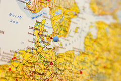 Destination: Copenhagen. Detail of map with Copenhagen in focus and marked by a map pin Stock Photo