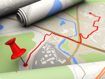 Destination. 3d illustration of map with pin in route destination Royalty Free Stock Images